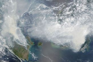 Smoke over Southeast Asia on 24 September 2015 (image from NASA).